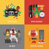 image of rapper  - Rap music design concept set with rapper lifestyle clothing and accessories isolated vector illustration - JPG