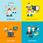 picture of personal assistant  - Personal assistant  design concept set with time management and secretary work flat icons isolated vector illustration - JPG
