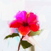 picture of hibiscus  - Abstract oil painting red hibiscus flower  - JPG