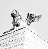 image of piazza  - winged lion statue in piazza san marco in Venice Italy - JPG