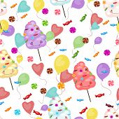 stock photo of candy cotton  - Seamless pattern of sweets cotton candy lollipops small candies colored balls - JPG