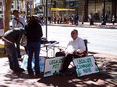 Legalize Pot Voter Registration Booth On Market Street In San Francisco