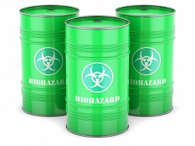 stock photo of toxic substance  - Biohazard waste barrels symbol chemical toxic green isolated - JPG