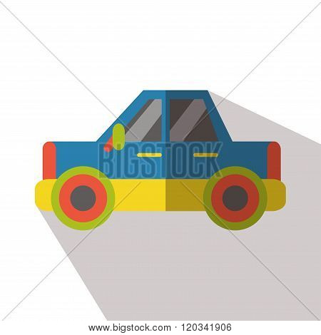 poster of Car blue icon vector flat isolated long shadow