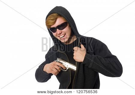 Aggressive man with gun isolated