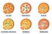 Постер, плакат: Pizza flat icons isolated on white background