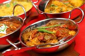 Selection of Indian curry dishes