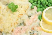 Fish pie with haddock, salmon and prawns