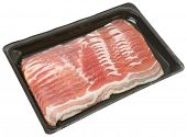 Bacon in a plastic packaging tray.