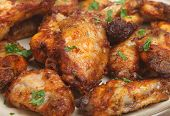 BBQ Chicken wings marinated in a spicy sauce