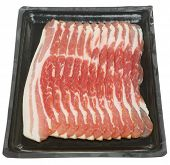 Raw bacon in supermarket packaging tray.