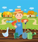 Постер, плакат: Cartoon Young Farmer Working In The Farm Village Landscape Vector Illustration Farmer Working