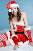 Christmas Woman in Santa Dress