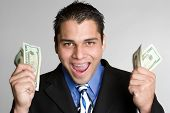Excited Man Holding Money