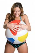 Playful Girl Holding Beach Ball