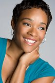 stock photo of young black woman  - Black Woman Smiling - JPG