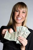 stock photo of holding money  - Money Businesswoman - JPG