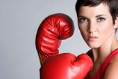 stock photo of boxing gloves  - Angry Boxing Woman - JPG