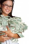 image of holding money  - Smiling asian woman holding money - JPG