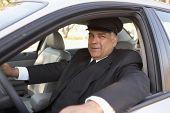 Portrait of chauffeur in car