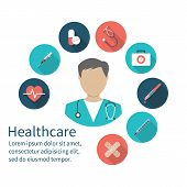 Постер, плакат: Icon Doctor Medical Concept Emergency Doctor With Medical Equipment