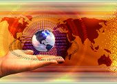 stock photo of computer technology  - abstract composition with binary data leaks human hand and earth globe - JPG