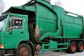 Old Green Garbage Truck
