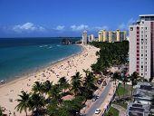 picture of san juan puerto rico  - view of a sunny day in isla verde beach san juan puerto rico - JPG