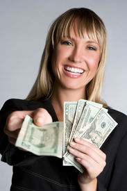 picture of holding money  - Money Businesswoman - JPG