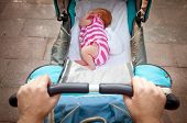 pic of pov  - This is sleeping newborn baby in the pram - JPG