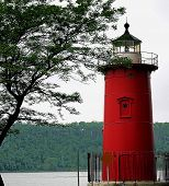 Little Red Ligthouse Under Great Gray Bridge