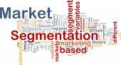 Ilustração de wordcloud fundo conceito de segmentação do mercado de negócios