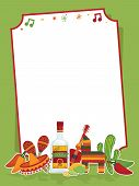 pic of mexican fiesta  - mexican party frame in red and green ready for text - JPG
