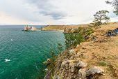 View Of Shaman Rock. Lake Baikal. Olkhon Island. Russia poster