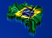 Brazil Rendered With Brazilian Flag