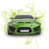 Green hybrid car on a abstract floral background. Non-branded concept car.