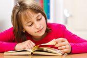 Schoolgirl Reading In Classroom