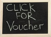 Board With 'click For Voucher'.