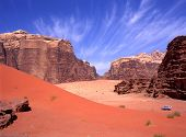 picture of four-wheel drive  - Exploring with a four wheel drive the Wadi rum desert in Jordan - JPG