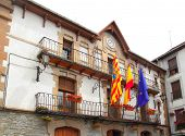 Anso city council town hall facade building Pyrenees Aragon Spain