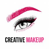 Beautiful Colorful Woman Eye With Creative Make-up. Pink Eyebrow, Long Pink Eyelashes And Unusual Ma poster