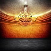 stock photo of flambeau  - empty space with chandelier - JPG
