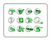Medical & Pharmacy Icon Set - Green-Silver