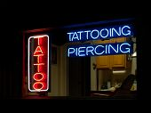 Tattoo Parlour Window at Night