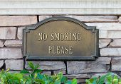 Bronze No Smoking Sign Close Up
