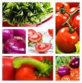 Collage Of Salad With Tomato Onion Lettuce And Red Sweet Pepper