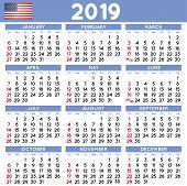 Year 2019 Squared Calendar Spanish Week Starts On Monday poster