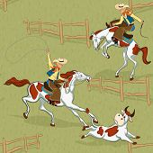 stock photo of bull-riding  - Seamless pattern with cowboys roping a bull and riding a bucking bronco - JPG