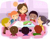 Ilustração de crianças, ouvindo uma história