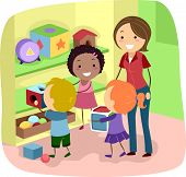Illustration of Preschool Kids organizing their toys
